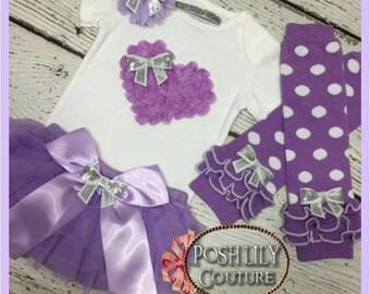 Lavender bloomer set, valentines top and tutu bloomer, lavender tutu bloomer~  lavender heart and tutu bloomer set
