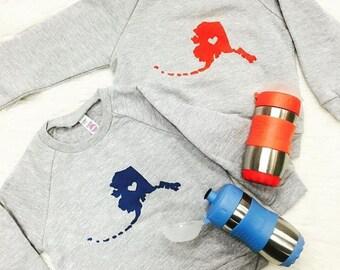 I love alaska child sweatshirt, screen printed sweater, youth shirt, baby toddler shirt, kidd sweatshirt, boys, girls, and unisex sweatshirt