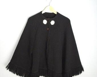 MLK - 20% off SALE - Vintage Black Poncho Fringe Shawl Sweater Jacket Cardigan w/ embroidered Flowers // one size