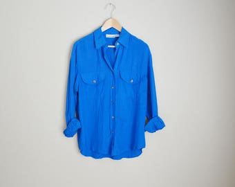 vintage royal blue silk oversized blouse shirt -- womens medium