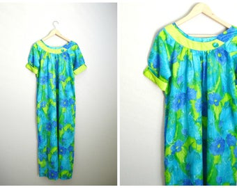 Vintage 50s 60s Paradise Hawaii MuuMuu Dress Lounge Luau Tiki Bathing Suit Cover Up Dress // medium