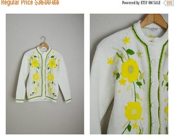 Vacation SALE - 10% off - vintage 70s embroidered floral yellow white cardigan sweater -- womens small