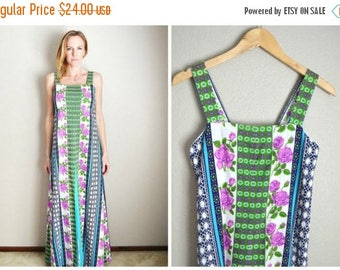 Memorial SALE - 15% off - Vintage 60s 70s Maxi Wild Floral Print Sleeveless Summer Dress // womens small