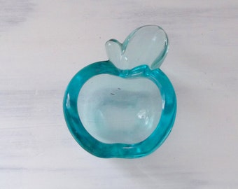 Vintage 1970's Blue Glass Apple Shaped Dish