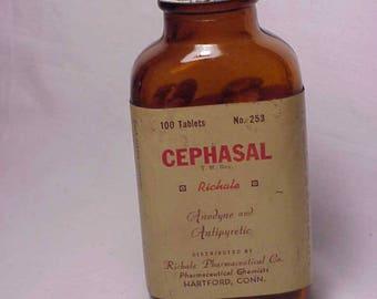c1940s 100 tablets Cephasal Richale Pharmaceutical Co. Hartford, Conn. , Paper Label Medicine Bottle