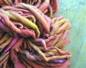 Yarn Handspun Super Bulky Thick n Thin Rusty Red Rust Orange Pink Purple Red Tan Hand dyed Wool Knitting Crochet Supplies Yospun