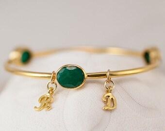 40 OFF - Personalized Charm Bangle - Emerald Bracelet - Gemstone Bangles - May Birthstone Bracelet - Initial Charm Bracelets