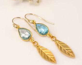 40 OFF - Blue Topaz earrings - Gold Leaf Earrings - Birthstone Earrings - Gemstone earrings - Gold drop earrings - Dangle Earrings