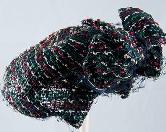 Bes Ben Navy Straw with Red, Tan, White and Green Weave with Bow and Veil.