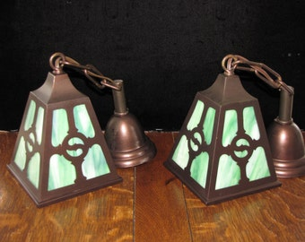 Vintage Pair Arts and Crafts / Mission Brass Wall Sconces