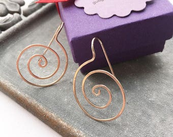 Spiral Earrings, Gold Swirl Earrings, Silver Wire Earrings, Silver Earrings, Rose Gold Spiral Earrings