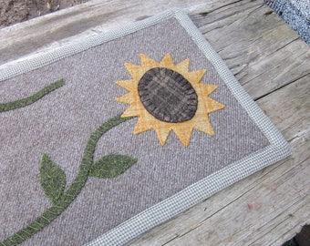 Sunflower penny rug, wool penny rug