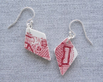 Red Willow Kite Earrings Broken Recycled China Jewelry Material and Movement