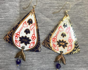 Triangle Coral and Navy Floral Recycled Tin Earrings