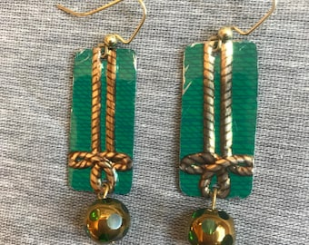 Green and Gold Knot Vintage Recycled Tin Earrings