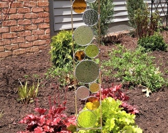 Stained glass Garden Art Stake gray amber chartreuse modern yard decoration