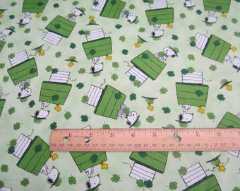 Peanuts and Snoopy St Patricks Day premium cotton fabric by Quilting Treasures