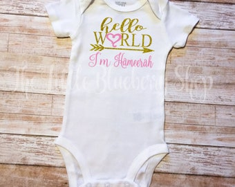Hello World Personalized Bodysuit, Hello world Glitter Girl Onesie, Baby Shower Gift, Take Home Outfit, Newborn Girl Clothes, Newborn Outfit