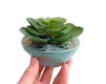 Succulent planter ~ cactus pot, indoor garden, Zen flower pot, wabi sabi, handmade ceramic planters, copper verdigris, gift for gardener