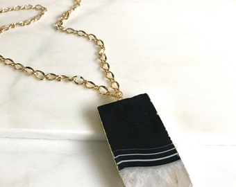 Long Gold Black Agate Stone Necklace. Layering Necklace. Simple Large Rectangle Stone Necklace. Long Bar Necklace. Boho Jewelry. Pendant.