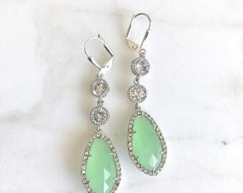 Bridal Statement Earrings with Mint and Crystal Clear Jewels in Silver.  Long Bridal Crystal Earrings. Wedding Jewelry. Bridal Earrings.