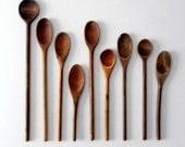 vintage wood spoon collection, 9 pc wooden kitchen utensils