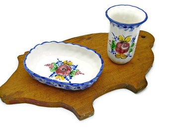 Soap Dish and Drinking Cup - Vintage Vestal Alcobaca Pottery Made in Portugal - Ceramic Floral Bathroom Decor