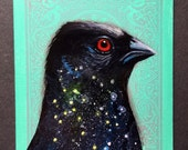 Spotted Towhee Universe on a playing cards. Original acrylic painting. 2017