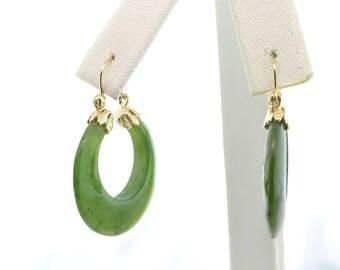 RESERVED LISTING - 14k Yellow Gold Jade Hoop Earrings