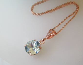 Rose Gold Necklace,Bridesmaid Necklace, Swarovski Crystal Necklace, Spa Blue Bridesmaid, Ice Blue, Bridesmaid Jewelry,Blue Jewelry, Pendant
