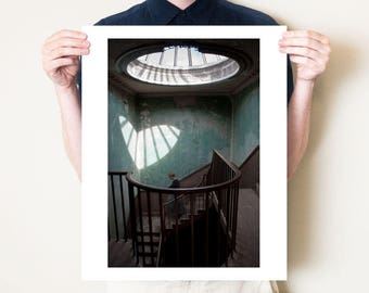 Surreal romantic Valentine's Day photography gift. Love heart photographic print. Jane Eyre artwork, teal staircase interior photograph