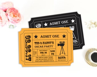 Oscar Party Invitation, Movie Night Party, Movie Ticket, Ticket Stub, Ticket Invitation, Invitation Template, Printable Invitation, Editable