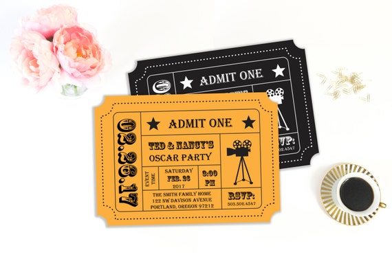 Oscar Party Invitation, Movie Night Party, Movie Ticket, Ticket Stub, Ticket  Invitation, Invitation Template, Printable Invitation, Editable  Movie Ticket Invitations Template