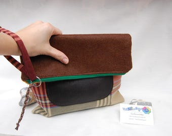 Wool felt clutch handbag