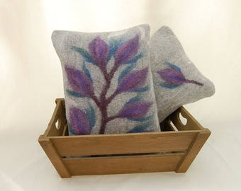 Two Merino wool wet felted cushions, decorative pillows