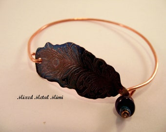 NEW/ Copper Bangle Bracelet / Copper Wire Bracelet/ Small Bangle  Bracelet/ Copper / bracelet Feather Color Colorful Purple Teal  Blue B-004