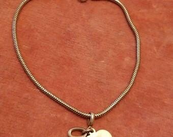 Vintage 12 Kt Gold filled snake syle bracelet heart key charms Forstner