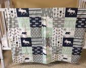Woodland baby blanket, ready to ship, navy, gray, mint, bear, moose, deer, minky blanket, patchwork