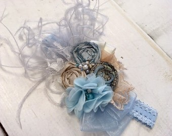 Ice Blue & Champagne Gold rosette headband/ hairclip
