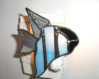 LT Stained glass Angel Fish night light lamp made with blue iridescent, grey, black opal glass