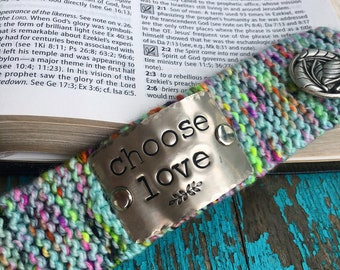 Choose Love Bracelet, Custom Hand Stamped Neon Cuff, Scripture Jewelry, Inspirational Boho Bracelet