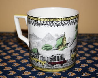 Antique Portland Pottery Railway Large Mug Cup  Made in England for P.V. Train Railroad Graphic Cobridge England