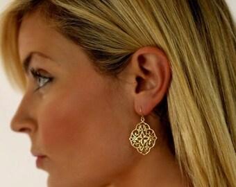 Gold Earrings Gold Filigree Earrings Lace Filigree Dainty Earrings Art Noveau Jewelry Casual Vintage Filigree Jewelry Lace Earrings