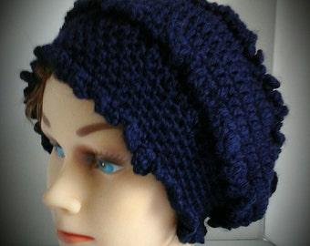 Navy Blue Beanie hat, Victorian Crochet Beanie Hat, Women Head Warmer, Gift for her, Women Accessories, Fall Hat, Spring Hat, Winter Hat,