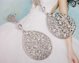 bridal earrings, wedding earrings, pearl earrings, wedding jewelry, crystal earrings, long earrings, statement earrings, swarovski earrings