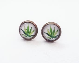 Marijuana Earrings - Pot Earrings - Marijuana Studs - Weed Earrings - Pot Leaf Earrings