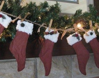 Primitive Holiday Stocking Garland - Ready 2 Ship - 6 Primitive Christmas Stockings - Grungy Maroon Fabric - Primitive Christmas Garland