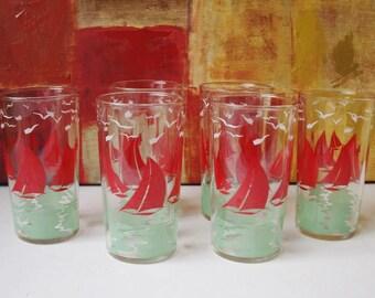 6 SWANKY SWIG Nautical Red Sail Boat Juice Water Glasses