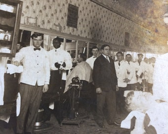 The Barber Shop Was A Happening Place Antique Group Photo
