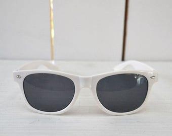 Flash Sale 25% Off White Wayfarer Sunglasses 1980s Milagro Tequila Vintage Promo Sunnies